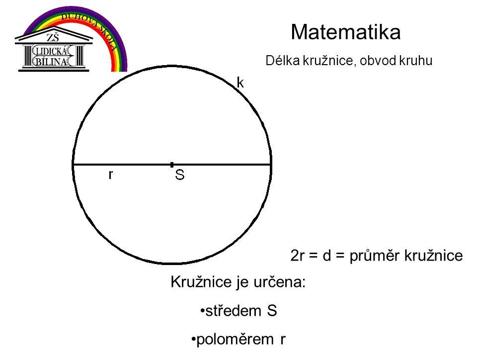 Matematika Délka kružnice, obvod kruhu Kružnice je určena: středem S poloměrem r 2r = d = průměr kružnice