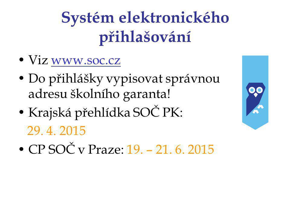 Systém elektronického přihlašování Viz www.soc.czwww.soc.cz Do přihlášky vypisovat správnou adresu školního garanta.