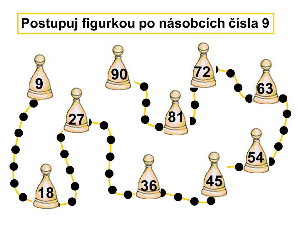 45 54 18 27 36 63 72 Postupuj figurkou po násobcích čísla 9 9 81 90
