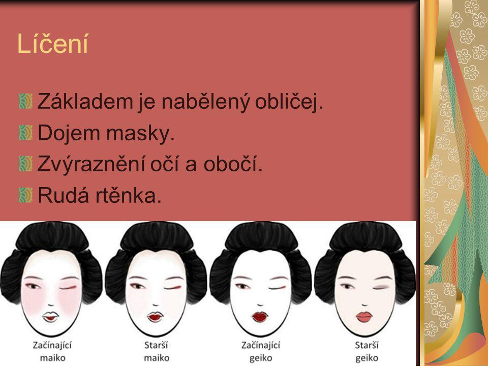 Líčení Základem je nabělený obličej. Dojem masky. Zvýraznění očí a obočí. Rudá rtěnka.