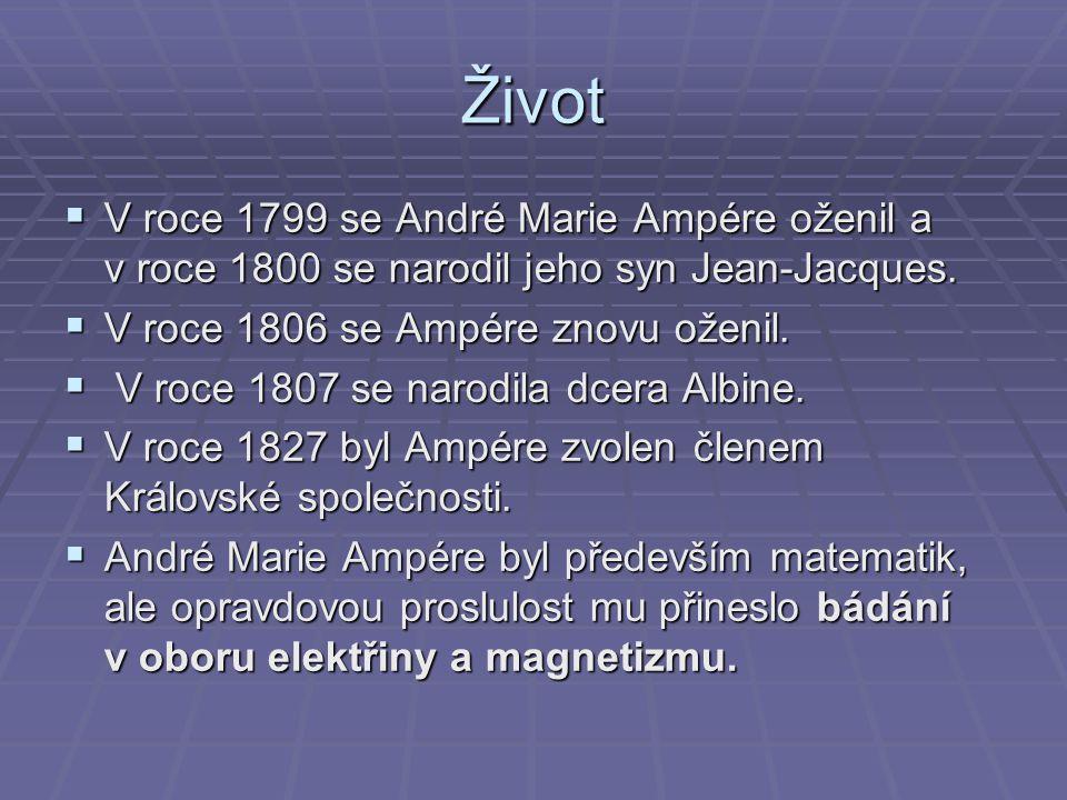 Život VVVV roce 1799 se André Marie Ampére oženil a v roce 1800 se narodil jeho syn Jean-Jacques. VVVV roce 1806 se Ampére znovu oženil.  V