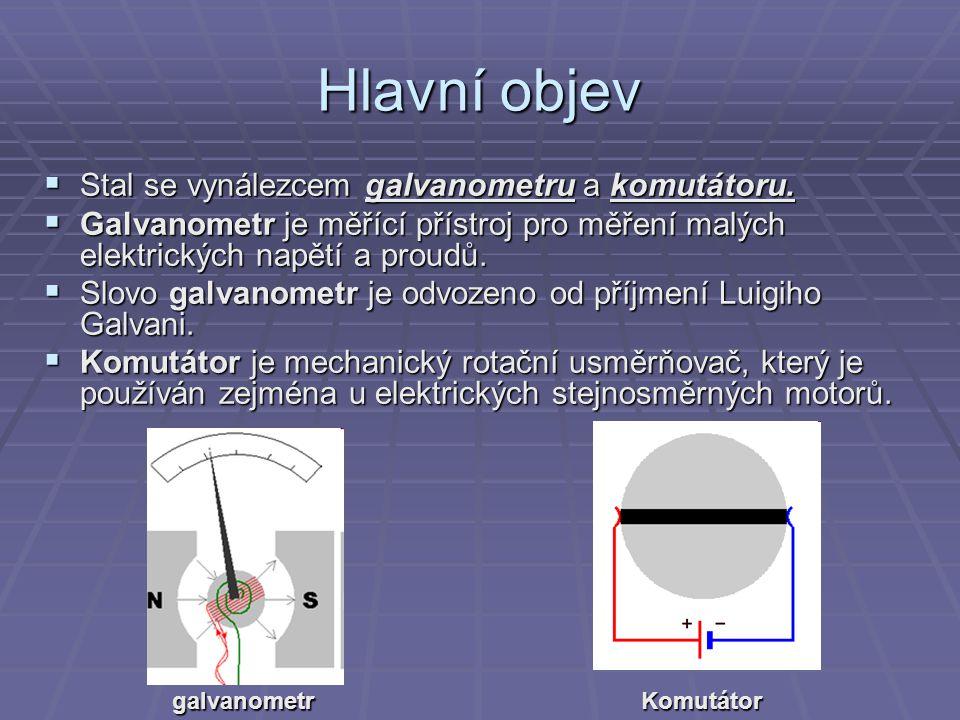 Hlavní objev SSSStal se vynálezcem galvanometru a komutátoru. GGGGalvanometr je měřící přístroj pro měření malých elektrických napětí a proudů