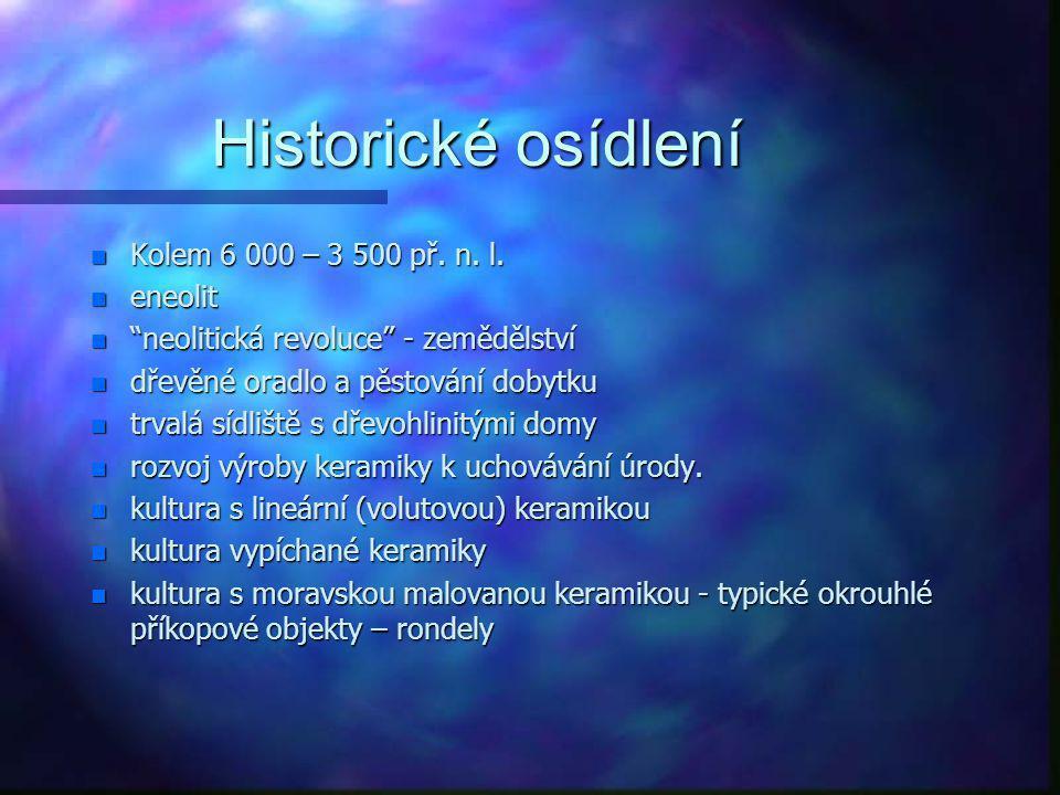 Historické osídlení n Kolem 40 000 – 8 000 let př. n. l. n paleolit a mezolit n člověk dnešního typu (Homo sapiens sapiens) n kostěnné a kamenné nástr