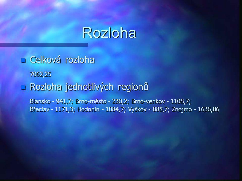 Vymezení kraje n Jednotlivé regiony - Okresy Blansko, Vyškov, Brno-venkov, Brno-město, Hodonín, Břeclav, Znojmo n Poloha - Z hlediska geografického je