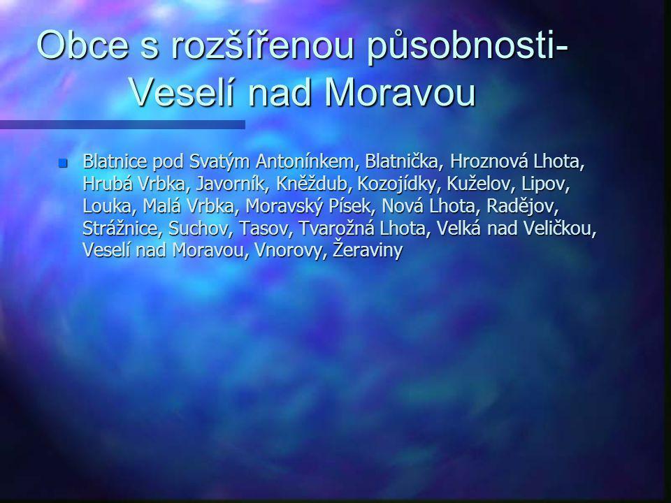 Obce s rozšířenou působnosti-Tišnov n Běleč, Braníškov, Brumov, Březina, Bukovice, Deblín, Drásov, Heroltice, Hluboké Dvory, Hradčany, Lažánky, Lomnic