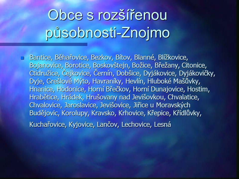 Obce s rozšířenou působnosti-Vyškov n Bohdalice-Pavlovice, Dětkovice, Drnovice, Drysice, Habrovany, Hlubočany, Hoštice-Heroltice, Hvězdlice, Ivanovice