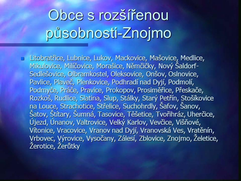 Obce s rozšířenou působnosti-Znojmo Bantice, Běhařovice, Bezkov, Bítov, Blanné, Blížkovice, Bojanovice, Borotice, Boskovštejn, Božice, Břežany, Citoni