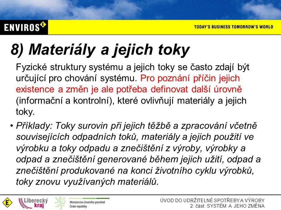 ÚVOD DO UDRŽITELNÉ SPOTŘEBY A VÝROBY 2. část: SYSTÉM A JEHO ZMĚNA 8) Materiály a jejich toky Fyzické struktury systému a jejich toky se často zdají bý