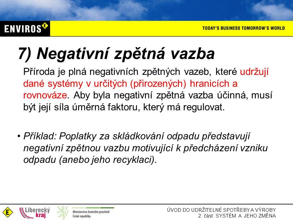 ÚVOD DO UDRŽITELNÉ SPOTŘEBY A VÝROBY 2. část: SYSTÉM A JEHO ZMĚNA 7) Negativní zpětná vazba Příroda je plná negativních zpětných vazeb, které udržují