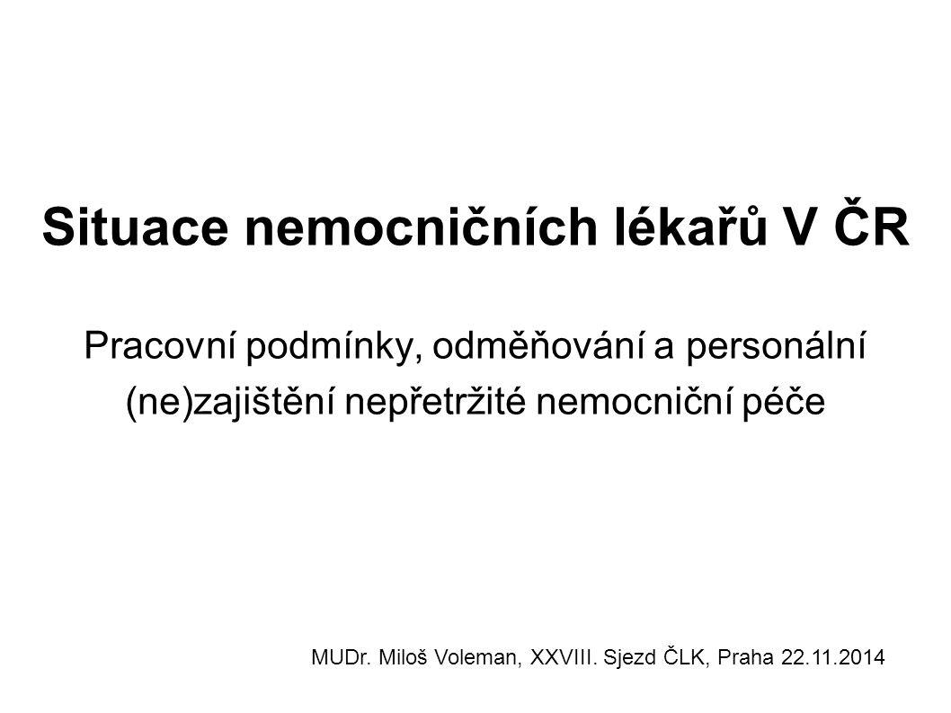 Situace nemocničních lékařů V ČR Pracovní podmínky, odměňování a personální (ne)zajištění nepřetržité nemocniční péče MUDr. Miloš Voleman, XXVIII. Sje