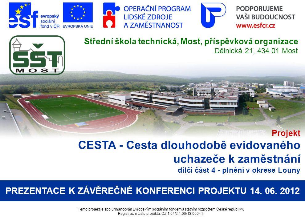 Projekt CESTA - Cesta dlouhodobě evidovaného uchazeče k zaměstnání dílčí část 4 - plnění v okrese Louny Tento projekt je spolufinancován Evropským soc