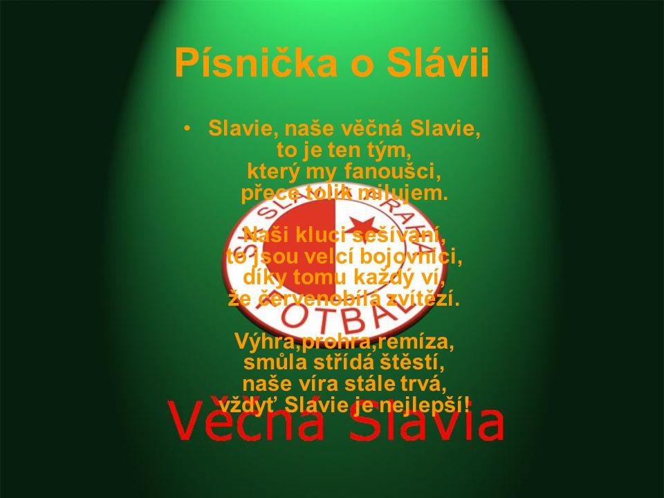Písnička o Slávii Slavie, naše věčná Slavie, to je ten tým, který my fanoušci, přece tolik milujem.