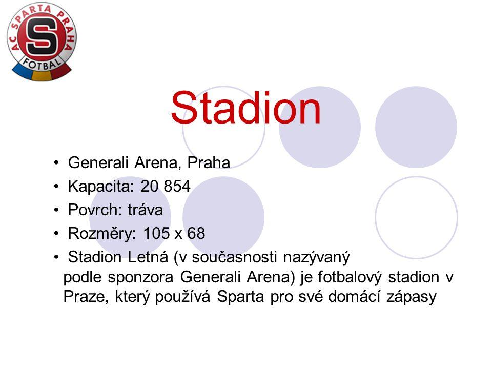 Stadion Generali Arena, Praha Kapacita: 20 854 Povrch: tráva Rozměry: 105 x 68 Stadion Letná (v současnosti nazývaný podle sponzora Generali Arena) je