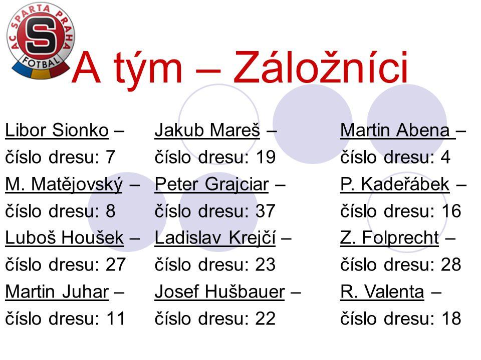 A tým – Záložníci Libor Sionko – číslo dresu: 7 M. Matějovský – číslo dresu: 8 Luboš Houšek – číslo dresu: 27 Martin Juhar – číslo dresu: 11 Jakub Mar