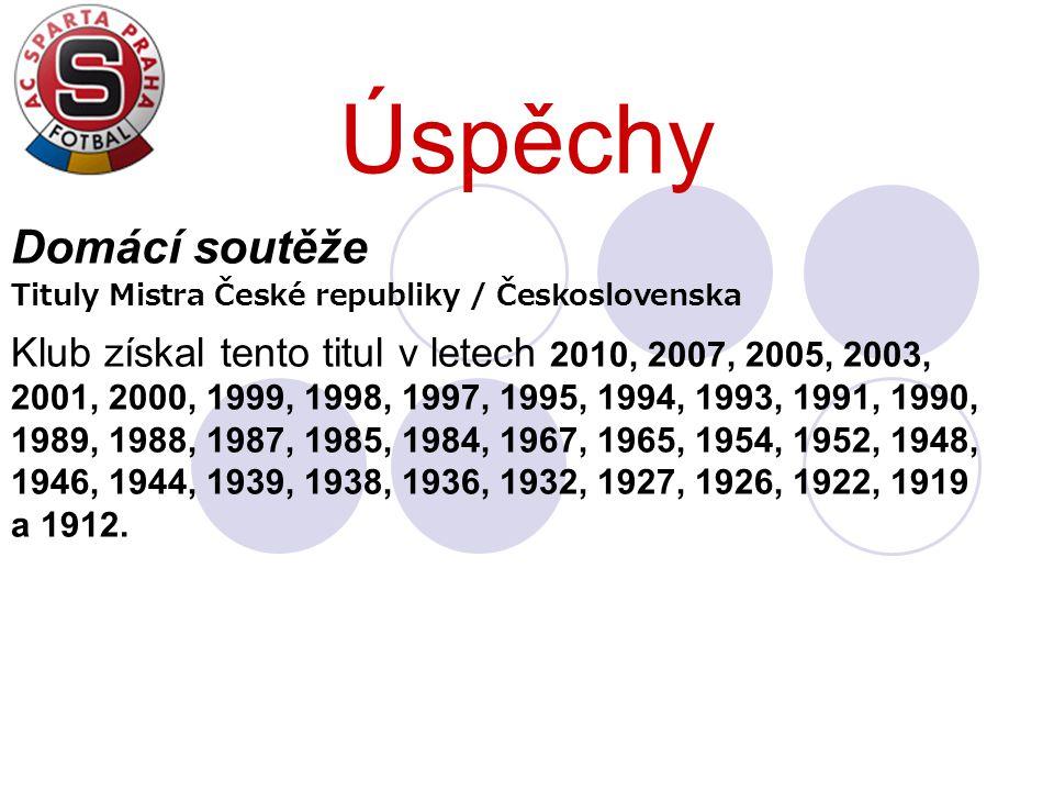 Úspěchy Domácí soutěže Tituly Mistra České republiky / Československa Klub získal tento titul v letech 2010, 2007, 2005, 2003, 2001, 2000, 1999, 1998,