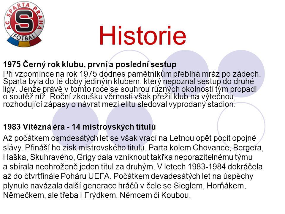 Historie 1975 Černý rok klubu, první a poslední sestup Při vzpomínce na rok 1975 dodnes pamětníkům přebíhá mráz po zádech. Sparta byla do té doby jedi