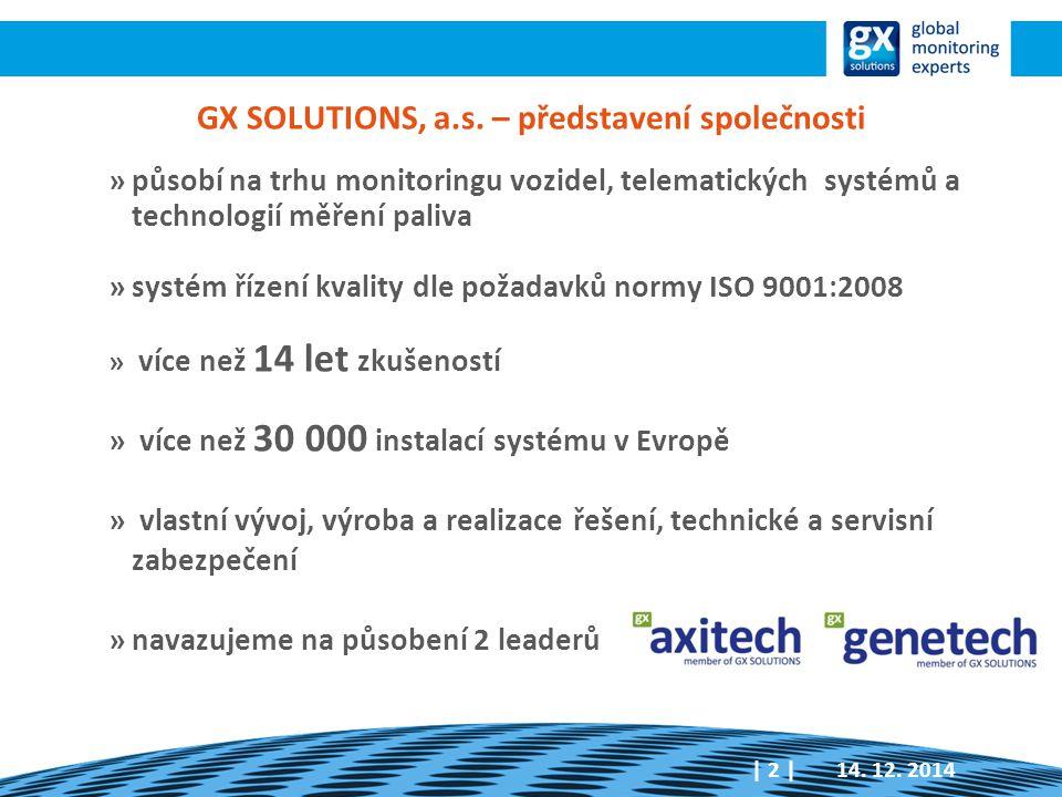 GX SOLUTIONS, a.s. – představení společnosti »působí na trhu monitoringu vozidel, telematických systémů a technologií měření paliva »systém řízení kva