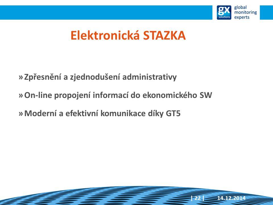 14.12.2014| 22 | Elektronická STAZKA »Zpřesnění a zjednodušení administrativy »On-line propojení informací do ekonomického SW »Moderní a efektivní kom
