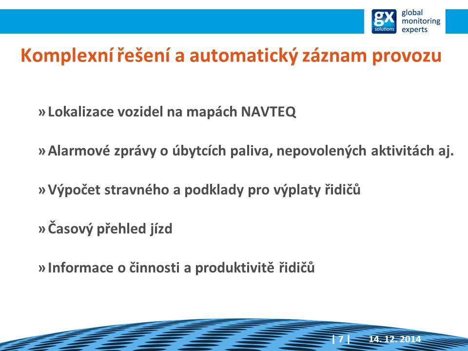 Komplexní řešení a automatický záznam provozu »Lokalizace vozidel na mapách NAVTEQ »Alarmové zprávy o úbytcích paliva, nepovolených aktivitách aj. »Vý