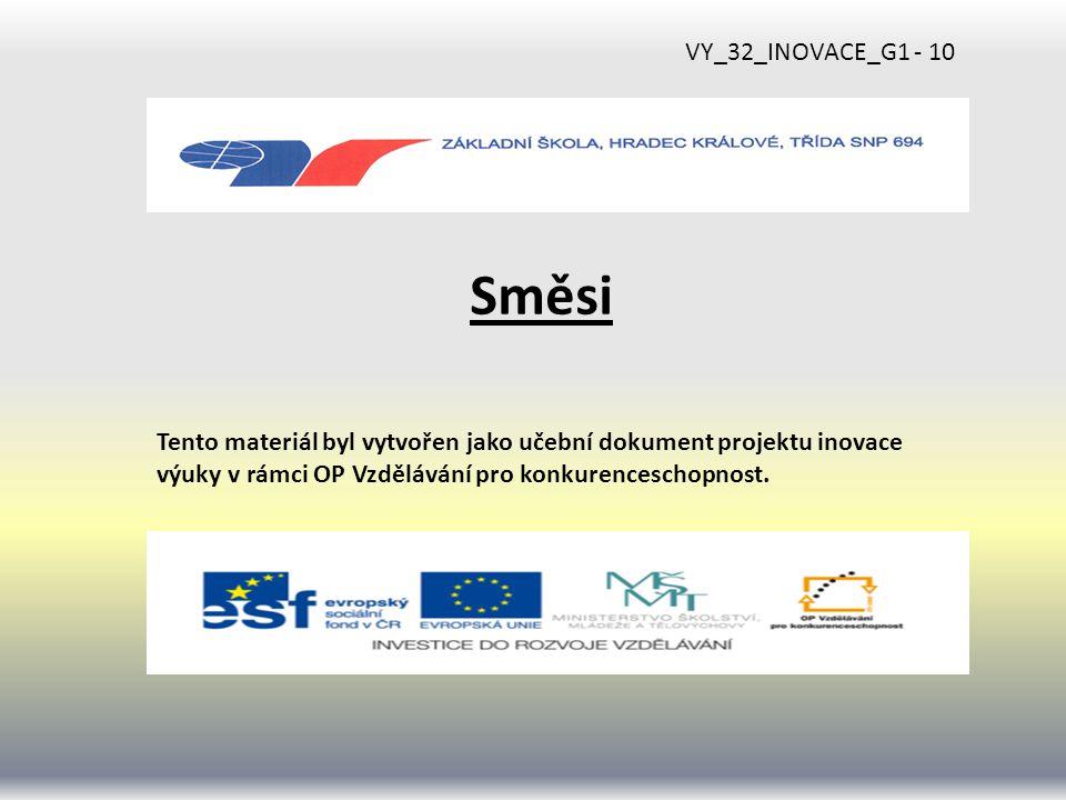 Směsi Tento materiál byl vytvořen jako učební dokument projektu inovace výuky v rámci OP Vzdělávání pro konkurenceschopnost.