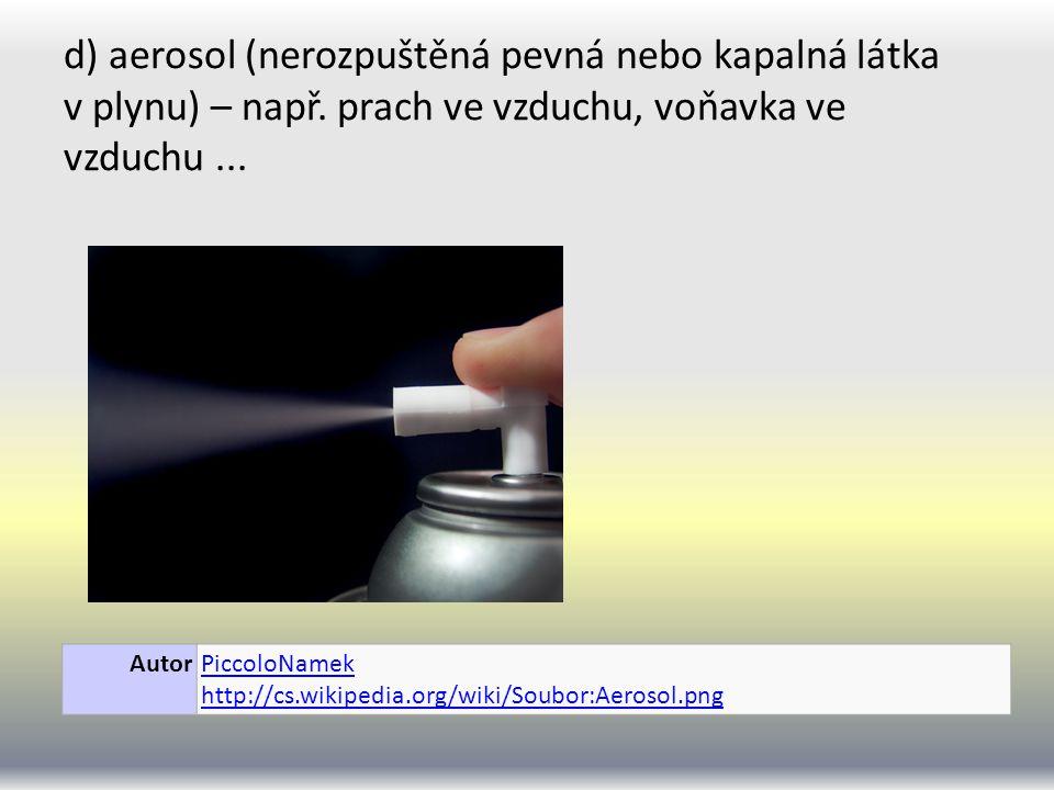 d) aerosol (nerozpuštěná pevná nebo kapalná látka v plynu) – např.