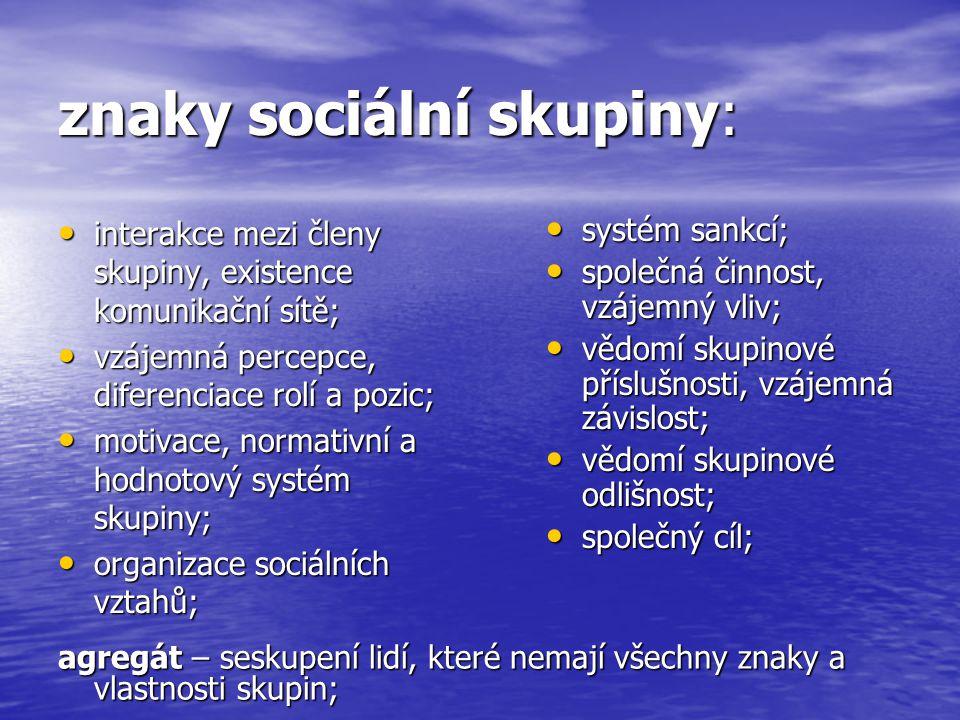 dělení sociálních skupin: A) podle velikosti: malé (do 20 členů); malé (do 20 členů); nejmenší malá soc.