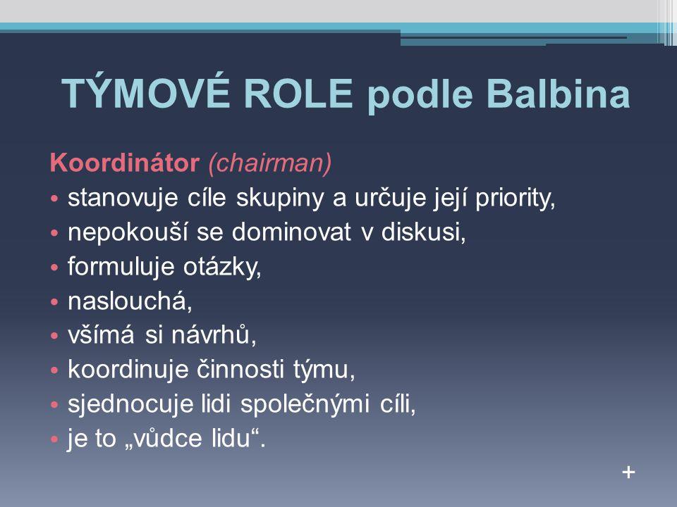 """TÝMOVÉ ROLE podle Balbina Koordinátor (chairman) stanovuje cíle skupiny a určuje její priority, nepokouší se dominovat v diskusi, formuluje otázky, naslouchá, všímá si návrhů, koordinuje činnosti týmu, sjednocuje lidi společnými cíli, je to """"vůdce lidu ."""