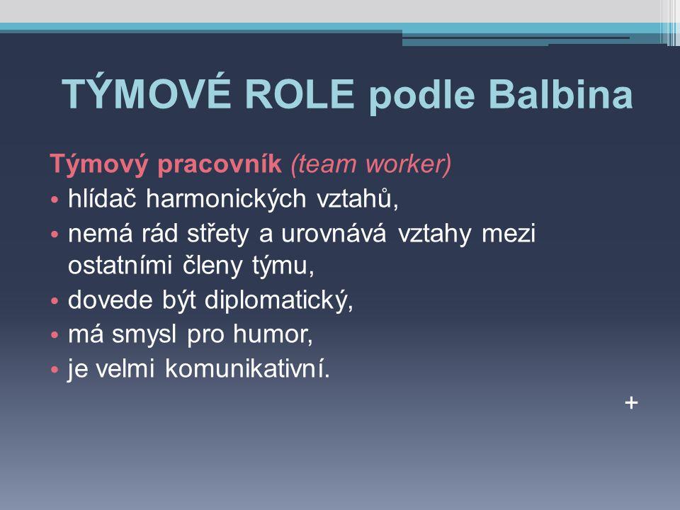 TÝMOVÉ ROLE podle Balbina Týmový pracovník (team worker) hlídač harmonických vztahů, nemá rád střety a urovnává vztahy mezi ostatními členy týmu, dovede být diplomatický, má smysl pro humor, je velmi komunikativní.