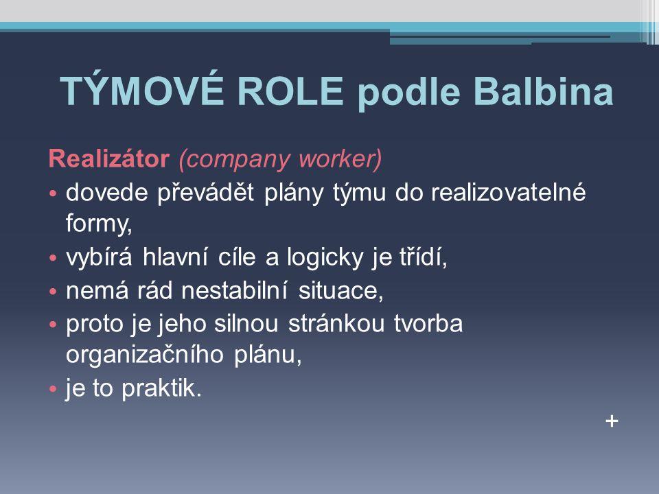 TÝMOVÉ ROLE podle Balbina Realizátor (company worker) dovede převádět plány týmu do realizovatelné formy, vybírá hlavní cíle a logicky je třídí, nemá rád nestabilní situace, proto je jeho silnou stránkou tvorba organizačního plánu, je to praktik.