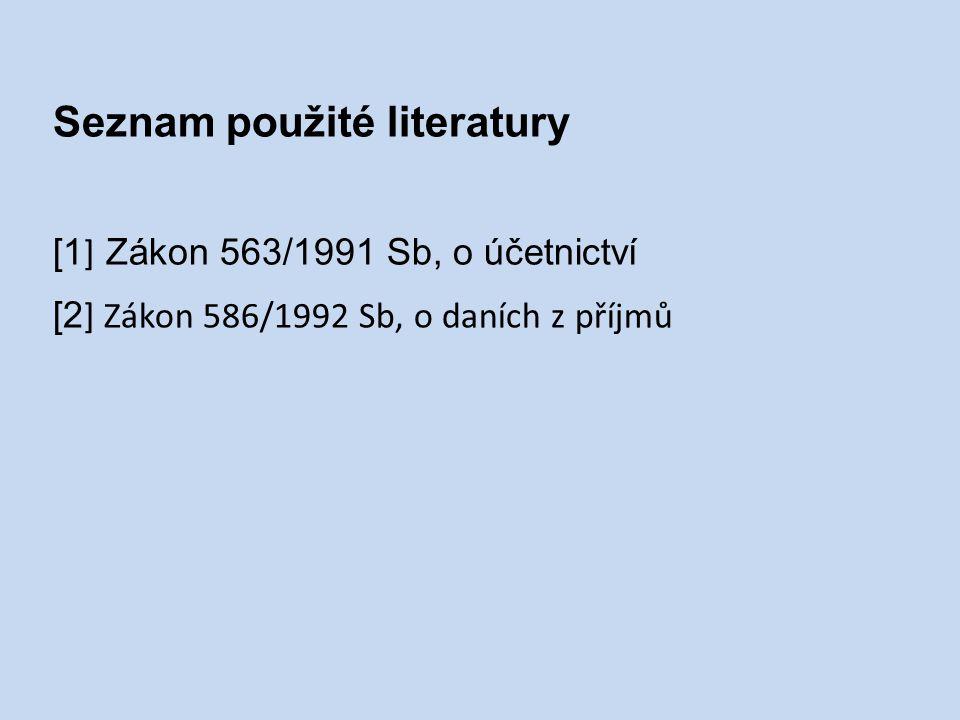 Seznam použité literatury [1 ] Zákon 563/1991 Sb, o účetnictví [2 ] Zákon 586/1992 Sb, o daních z příjmů
