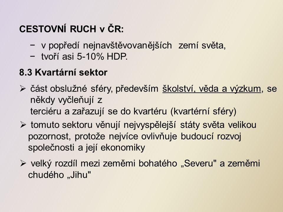 CESTOVNÍ RUCH v ČR: −v popředí nejnavštěvovanějších zemí světa, −tvoří asi 5-10% HDP.