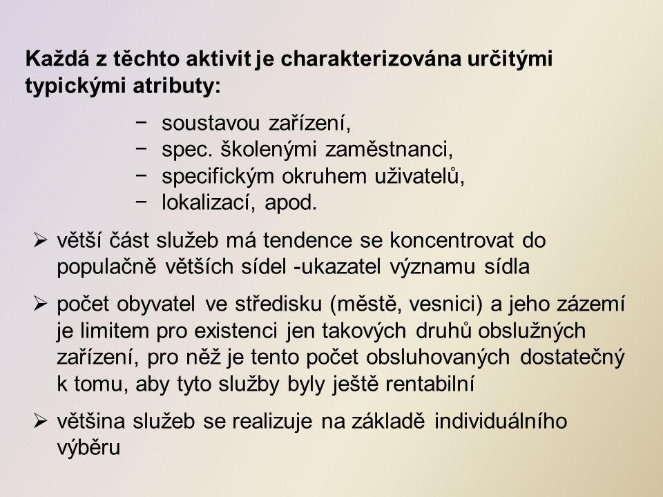 Každá z těchto aktivit je charakterizována určitými typickými atributy: −soustavou zařízení, −spec.