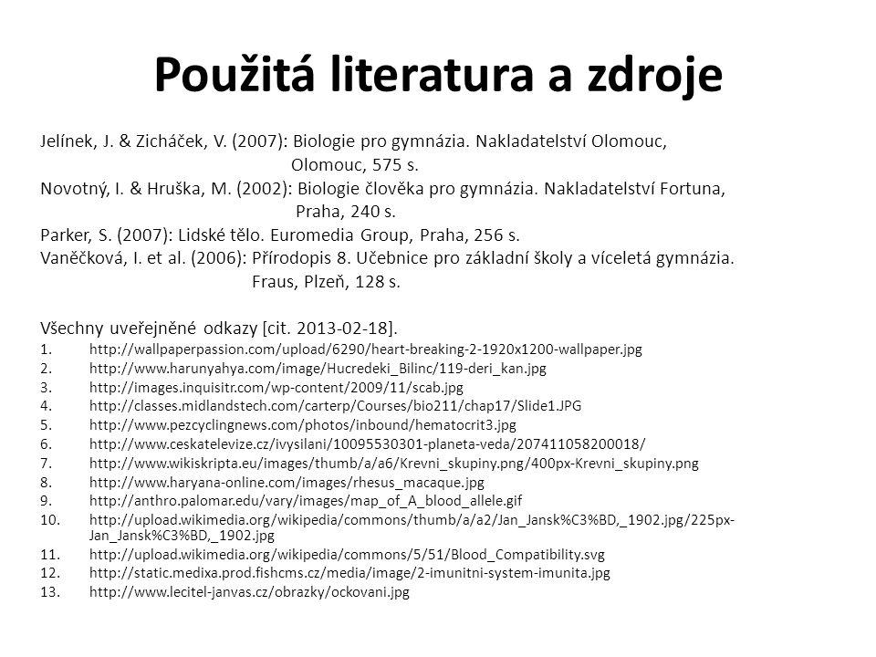 Použitá literatura a zdroje Jelínek, J. & Zicháček, V. (2007): Biologie pro gymnázia. Nakladatelství Olomouc, Olomouc, 575 s. Novotný, I. & Hruška, M.