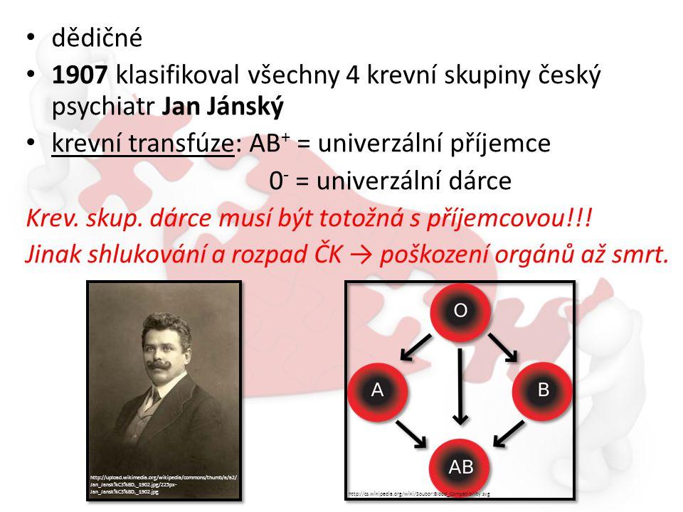 dědičné 1907 klasifikoval všechny 4 krevní skupiny český psychiatr Jan Jánský krevní transfúze: AB + = univerzální příjemce 0 - = univerzální dárce Kr