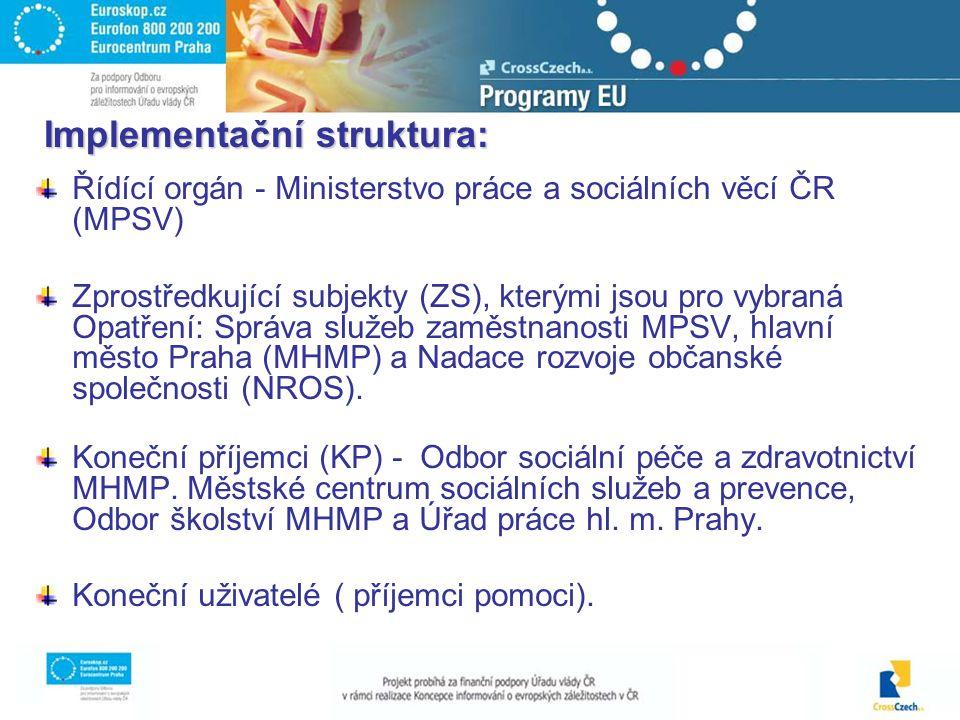 Implementační struktura: Řídící orgán - Ministerstvo práce a sociálních věcí ČR (MPSV) Zprostředkující subjekty (ZS), kterými jsou pro vybraná Opatření: Správa služeb zaměstnanosti MPSV, hlavní město Praha (MHMP) a Nadace rozvoje občanské společnosti (NROS).