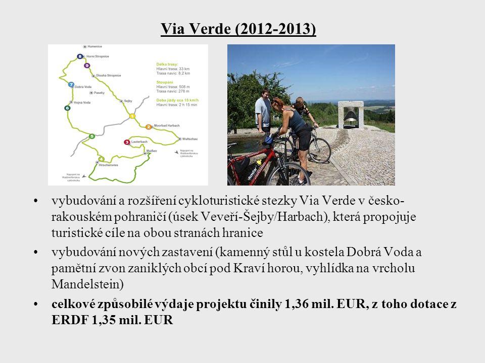 Via Verde (2012-2013) vybudování a rozšíření cykloturistické stezky Via Verde v česko- rakouském pohraničí (úsek Veveří-Šejby/Harbach), která propojuje turistické cíle na obou stranách hranice vybudování nových zastavení (kamenný stůl u kostela Dobrá Voda a pamětní zvon zaniklých obcí pod Kraví horou, vyhlídka na vrcholu Mandelstein) celkové způsobilé výdaje projektu činily 1,36 mil.