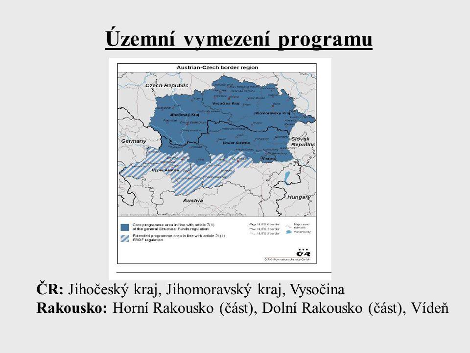 Územní vymezení programu ČR: Jihočeský kraj, Jihomoravský kraj, Vysočina Rakousko: Horní Rakousko (část), Dolní Rakousko (část), Vídeň