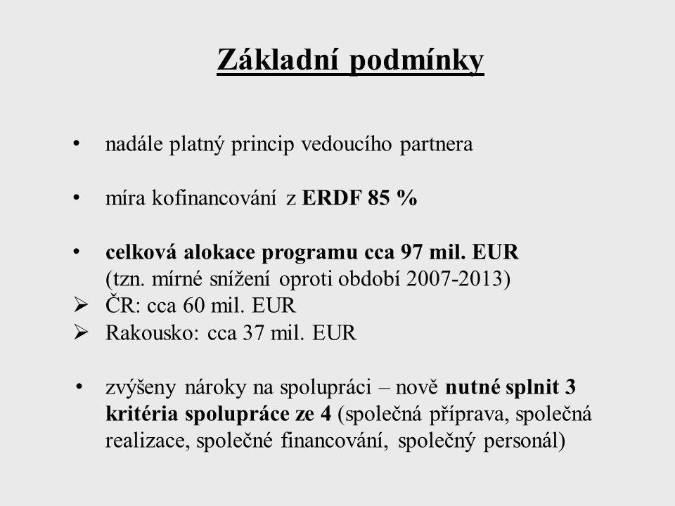 Základní podmínky nadále platný princip vedoucího partnera míra kofinancování z ERDF 85 % celková alokace programu cca 97 mil. EUR (tzn. mírné snížení