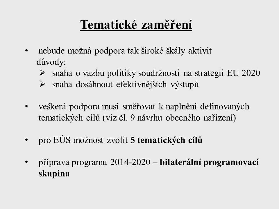 Tematické zaměření nebude možná podpora tak široké škály aktivit důvody:  snaha o vazbu politiky soudržnosti na strategii EU 2020  snaha dosáhnout efektivnějších výstupů veškerá podpora musí směřovat k naplnění definovaných tematických cílů (viz čl.