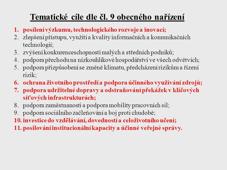 Tematické cíle dle čl. 9 obecného nařízení 1.posílení výzkumu, technologického rozvoje a inovací; 2.zlepšení přístupu, využití a kvality informačních