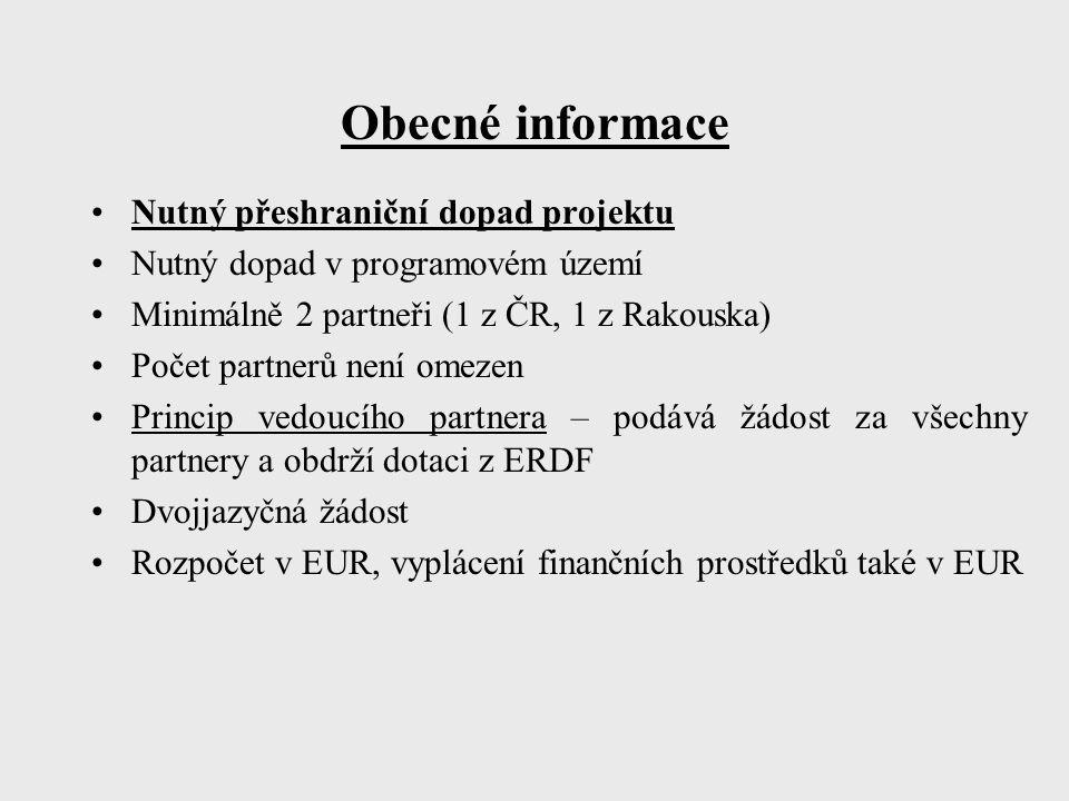 Obecné informace Nutný přeshraniční dopad projektu Nutný dopad v programovém území Minimálně 2 partneři (1 z ČR, 1 z Rakouska) Počet partnerů není omezen Princip vedoucího partnera – podává žádost za všechny partnery a obdrží dotaci z ERDF Dvojjazyčná žádost Rozpočet v EUR, vyplácení finančních prostředků také v EUR