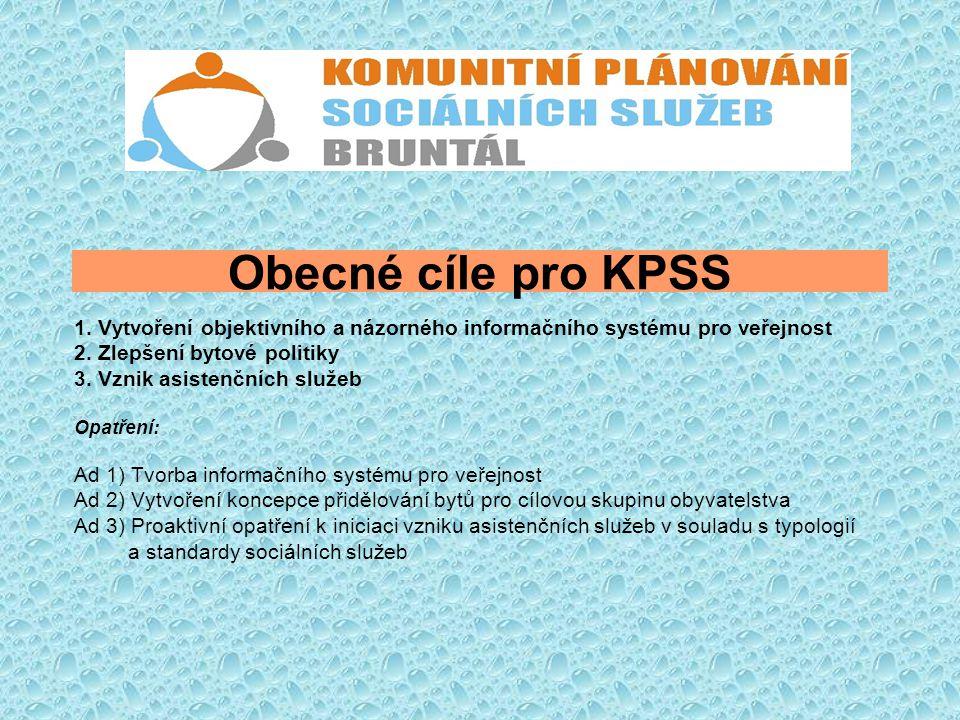 Obecné cíle pro KPSS 1. Vytvoření objektivního a názorného informačního systému pro veřejnost 2. Zlepšení bytové politiky 3. Vznik asistenčních služeb