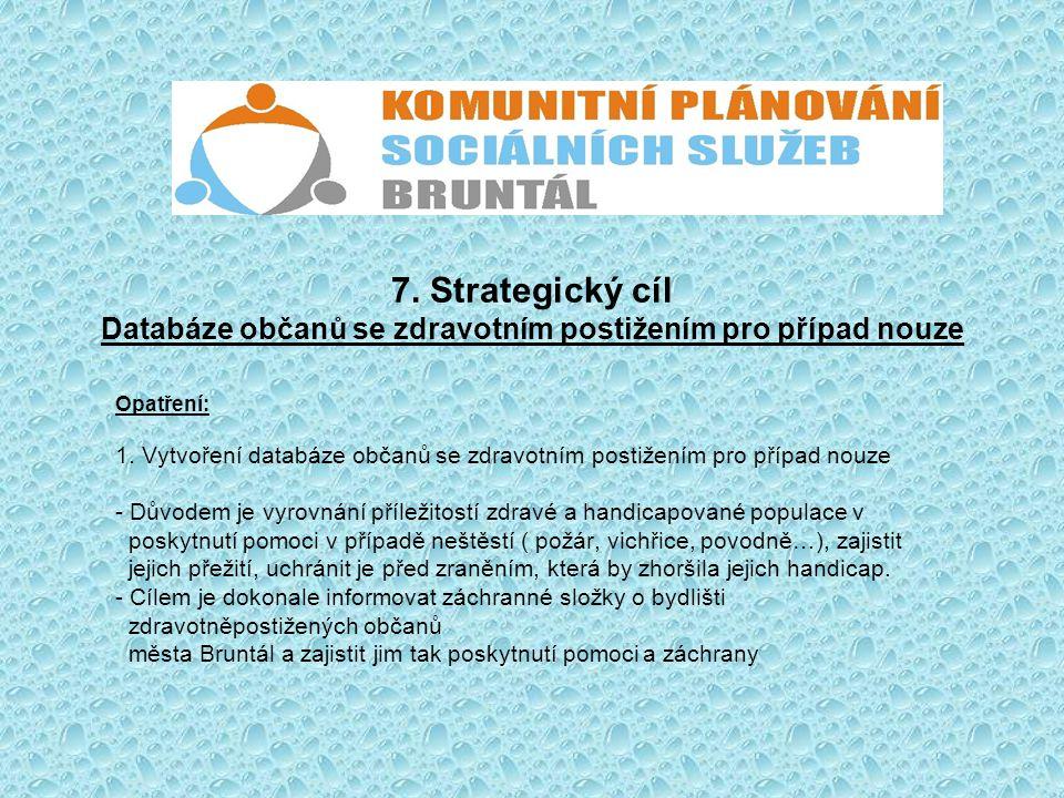 7. Strategický cíl Databáze občanů se zdravotním postižením pro případ nouze Opatření: 1. Vytvoření databáze občanů se zdravotním postižením pro přípa