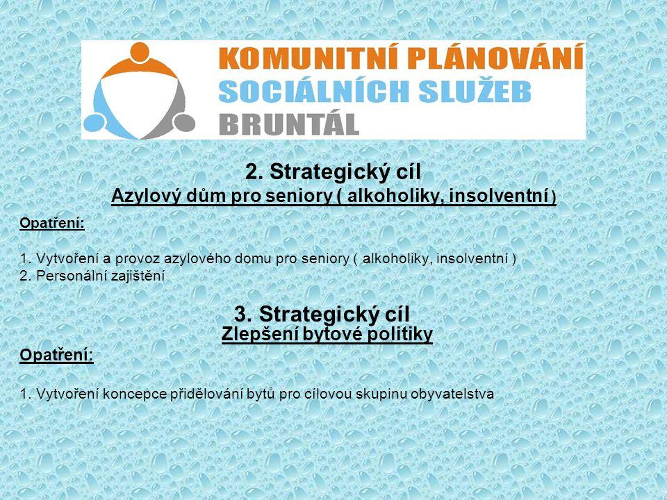 2. Strategický cíl Azylový dům pro seniory ( alkoholiky, insolventní ) Opatření: 1. Vytvoření a provoz azylového domu pro seniory ( alkoholiky, insolv
