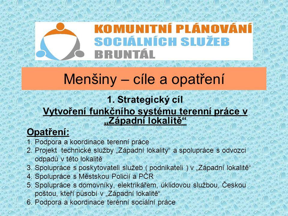 """Menšiny – cíle a opatření 1. Strategický cíl Vytvoření funkčního systému terenní práce v """"Západní lokalitě"""" Opatření: 1. Podpora a koordinace terenní"""