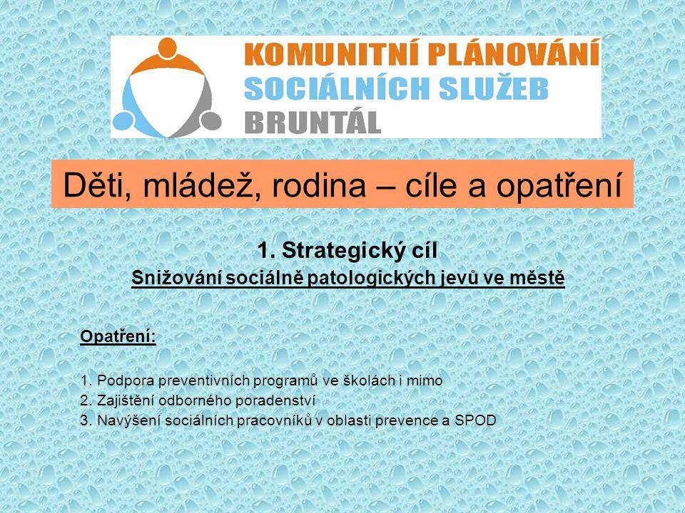 Děti, mládež, rodina – cíle a opatření 1. Strategický cíl Snižování sociálně patologických jevů ve městě Opatření: 1. Podpora preventivních programů v