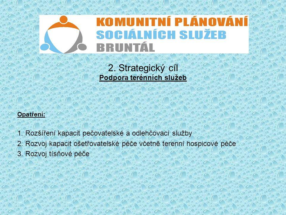 2. Strategický cíl Podpora terénních služeb Opatření: 1. Rozšíření kapacit pečovatelské a odlehčovací služby 2. Rozvoj kapacit ošetřovatelské péče vče