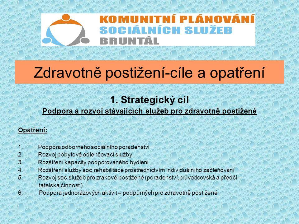 Zdravotně postižení-cíle a opatření 1. Strategický cíl Podpora a rozvoj stávajících služeb pro zdravotně postižené Opatření: 1.Podpora odborného sociá