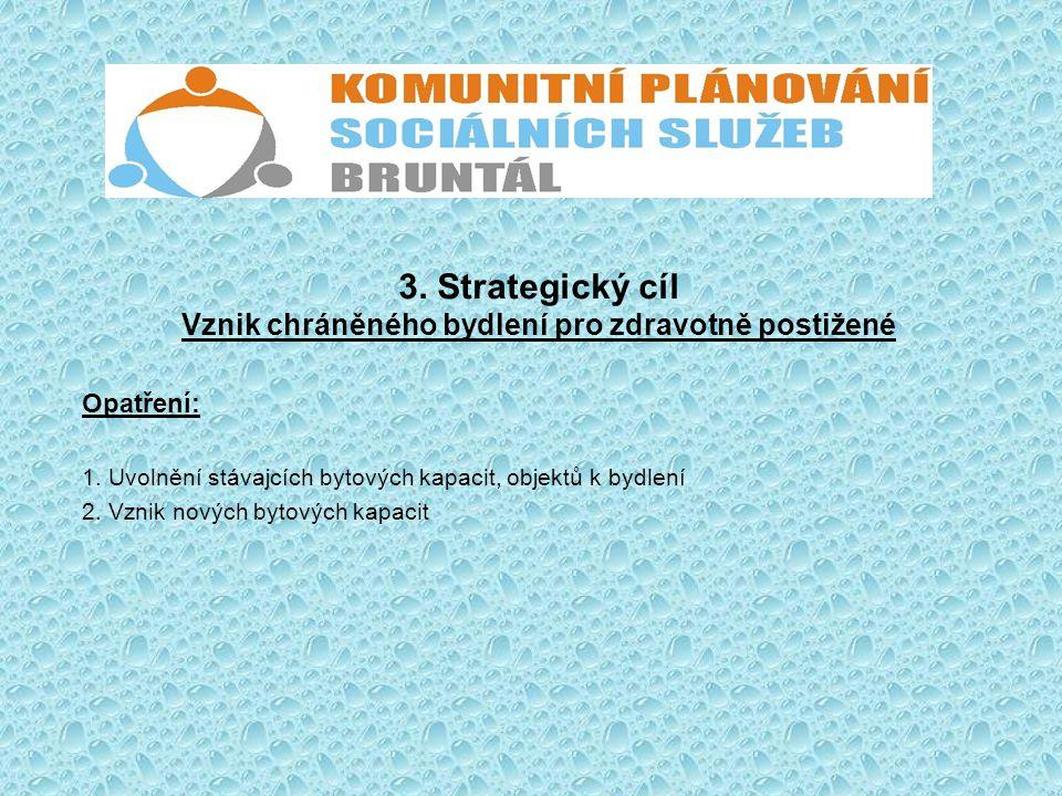 3. Strategický cíl Vznik chráněného bydlení pro zdravotně postižené Opatření: 1. Uvolnění stávajcích bytových kapacit, objektů k bydlení 2. Vznik nový