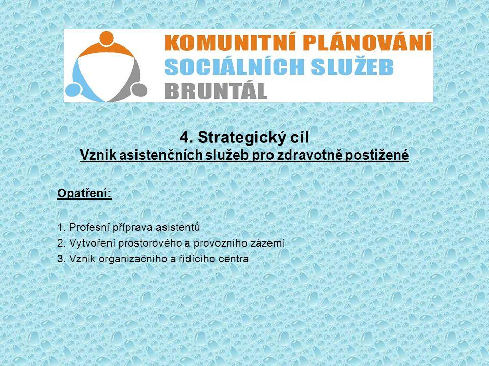 4. Strategický cíl Vznik asistenčních služeb pro zdravotně postižené Opatření: 1. Profesní příprava asistentů 2. Vytvoření prostorového a provozního z